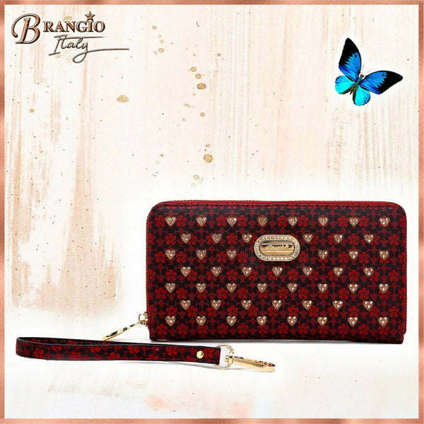 Women Wallet Laser Cut 3D Engraved Double Layer Clutch Twinkle Star Burgundy