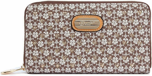 Women Wallet Laser Cut 3D Engraved Double Layer Clutch Twinkle Star Brown