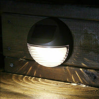 Solar Powered Round Mini LED Deck White Light / Step Light, Bronze Finish,2-Pack