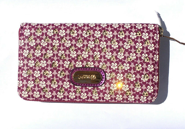 Women Wallet Laser Cut Sleek 3D Engraved Double Layer Clutch Twinkle Star Purple