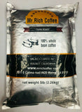 MR. RICH Coffee Dark Roast Bean Coffee 100% Whole Bean Coffee 2 pack 5 Ib Each.