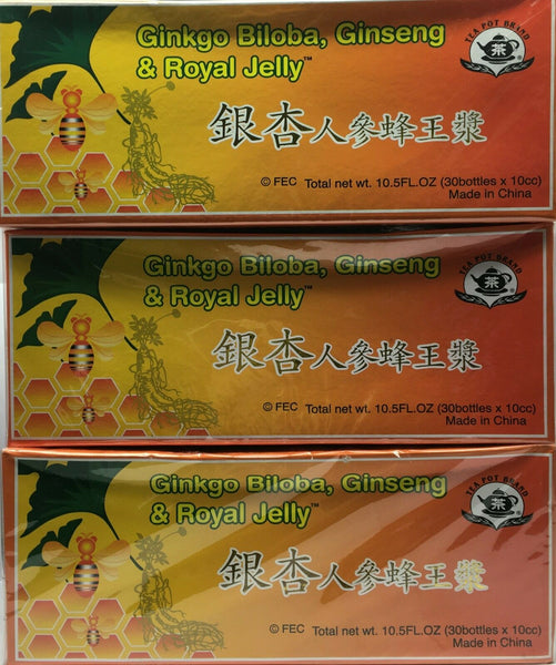 Ginkgo Biloba, Ginseng & Royal Jelly 3x10mlx30 Bottles New Sealed Free Shipping