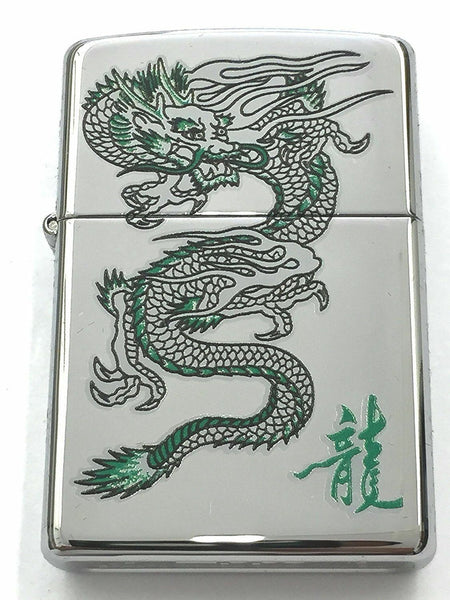 New Zippo Lighter Green Dragon High Polish Chrome MADE IN USA Green Dragon