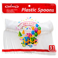 Table King Plastic Spoon 51ct White (4-Pack) Plastic Spoon Total 204 Pieces