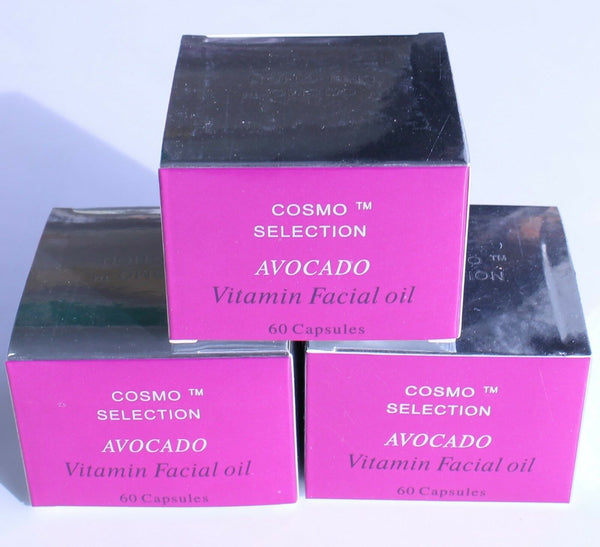 Cosmo Selection Avocado Creamy Vitamin Facial Oil 60 Softgels Made in USA 3 Pack