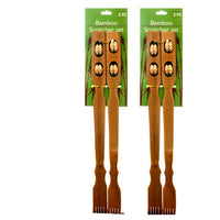 "18"" Bamboo Therapeutic Back Scratcher Long Reach Antipruritic Tool 2 x 2 Set"
