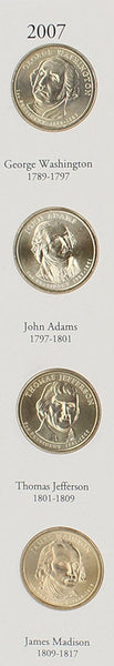 Presidential Dollars 2007 total 4 coins