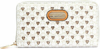Women Wallet Laser Cut Sleek 3D Engraved Double Layer Clutch Twinkle Star Ivory