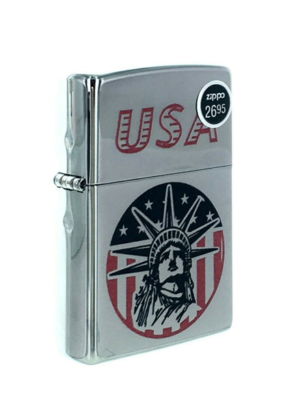 Genuine Zippo windproof lighter 250 Laser Lettering Pattern Lady Liberty Sealed