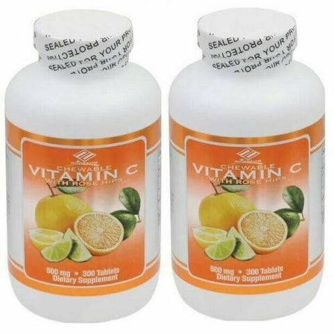 2 Bottles Nu-Health VITAMIN C + ROSEHIPS CHEWABLE (300 TABLETS)