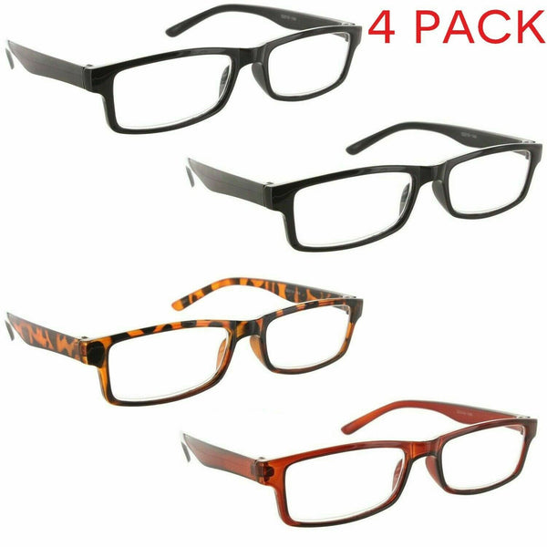4 Pack Reading Glasses Square Clear Lens Readers for Men and Women random Color