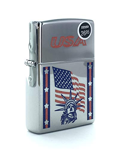Genuine Zippo Windproof Lighter 250 USA with Bar Laser Statue Flage Liberty Sealed Made in USA, US Free Ship
