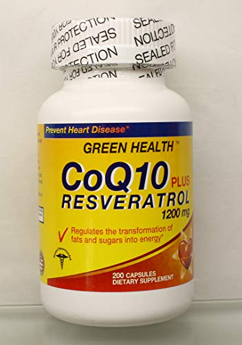 CENPAC Green Health TM CoQ10 Plus Resveratrol 1200 mg 200 Capsules Dietary Supplement