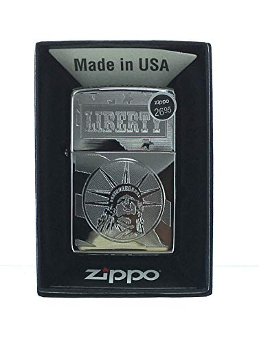 Zippo Lighter 250 Liberty and Flag Genuine Zippo Lighter Laser Lettering Pattern Made in USA. US Free Shipping Super Fast.