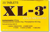 XL-3 Cold Medicine | Non-Drowsy Fast Acting Strong Flu Symptom Relief of Fever, Nasal Congestion, Sneezing, Aches, and Pains; 20 Tablets