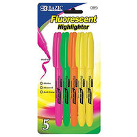 3 Pk, Pen Style Fluorescent Highlighter With Pocket Clip - 5 Per Pack (Total of 15 Highlighters)