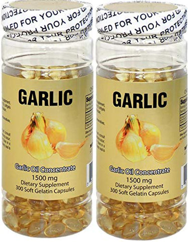 2X NuHealth Garlic Oil Concentrate, 1500mg 600 Softgels , New Item Good Product !! by Nu-Health
