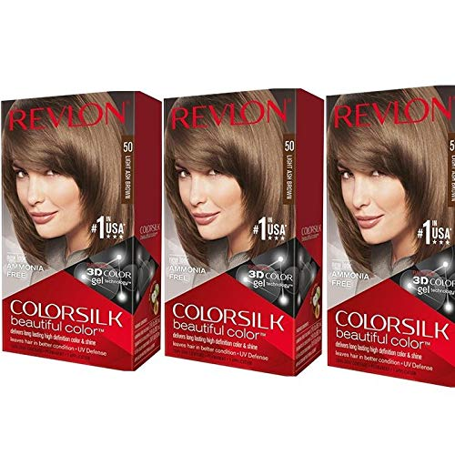 Revlon ColorSilk Hair Color, 50 Light Ash Brown 1 ea (Pack of 3)