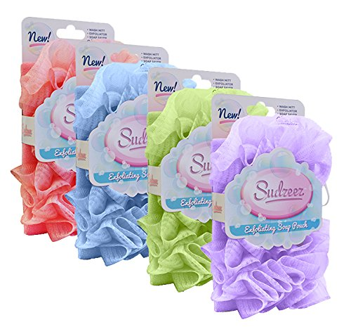 Sudzeez Exfoliating Soap Pouch, 4 Pack: Blue, Pink, Purple, Green
