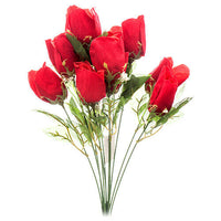 Artificial Rose Silk Flowers 12 Flower Head Floral Fake Valentines Red Rose