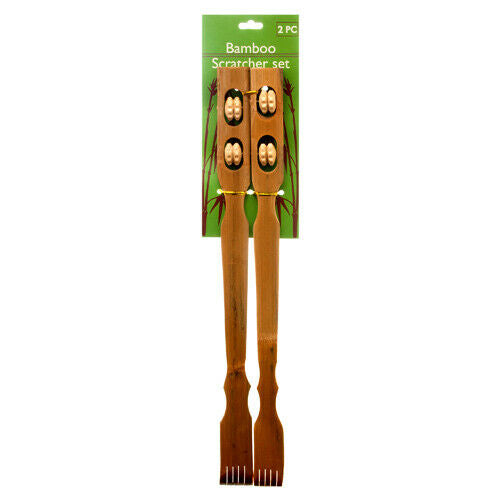 "18"" Bamboo Therapeutic Back Scratcher Long Reach Set of 2 Antipruritic Tool"