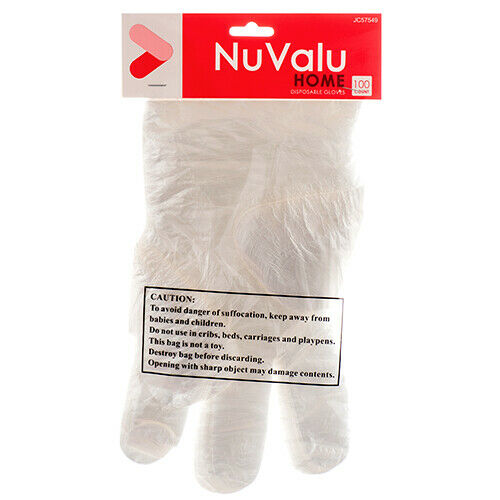 Nuvalu Disposable Glove 100Pc (1-Pack) Cleaning Disposable Glove Total 100 Pc.