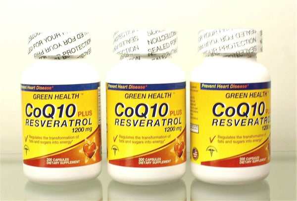 Co Q10 Plus Resveratrol 1200 mg 3 Bottles promotes Heart Health Exp 06-22 USA