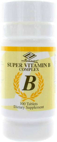 Nu-health Super Vitamin B Complex 100 Tablets Dietary Supplement Made in USA