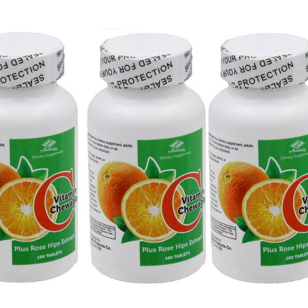 Nu-Health Vitamin C 400 mg Rose Hips Chewable Flavor Tablets Made in USA 3 Pack