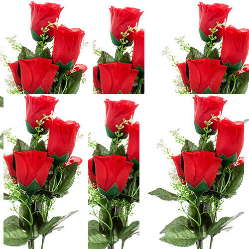 6 Pack Artificial Flower VALENTINE ROSE BUNDLE 6H W/RED & PINK Artificial Flower