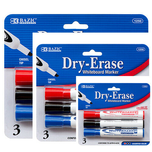 BAZIC Assorted Color Chisel Tip Dry-Erase Markers (3/Pack) 3 Pack, Total 9 Pcs
