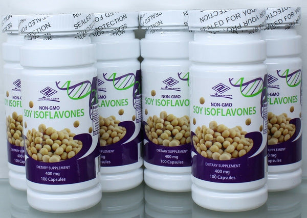 NON-GMO Pure Natural Soy Isoflavones 400 mg 100 Counts, FRESH, Made In US 6 Pack