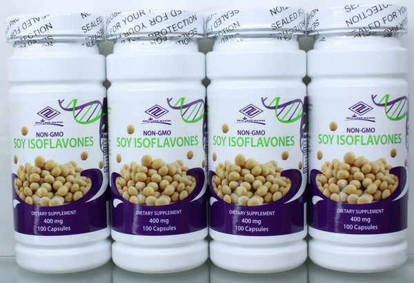 NON-GMO Pure Natural Soy Isoflavones 400 mg 100 Counts, FRESH, Made In US 4 Pack