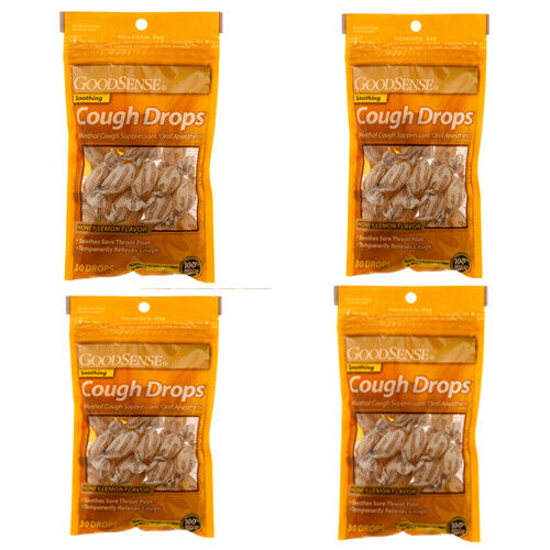GoodSense Soothing Vapors Cough Drops, Honey Lemon, 4 Pack x 30 Ct Made in US