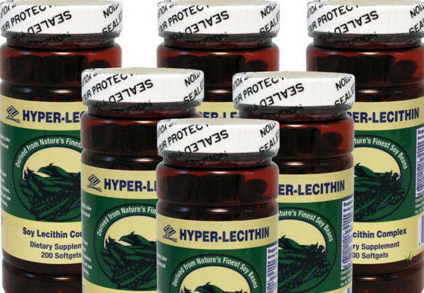 Hyper Lecithin +Ginkgo+OPC+Vitamin E 618mg 200 Softgels, Pack of 6 Exp 06/2022