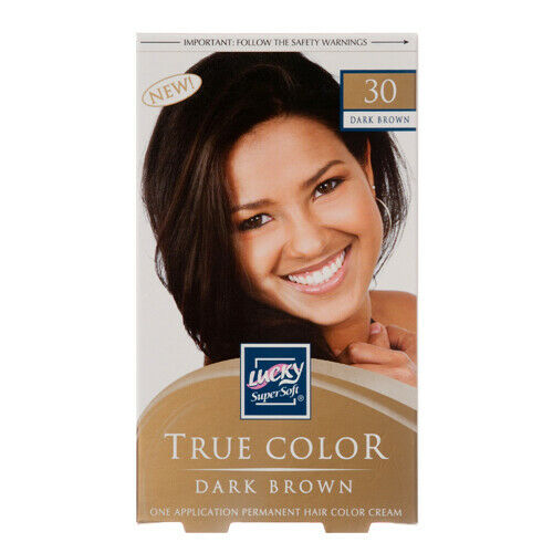 Pack 0f 4 Lucky Super Soft True Color Permanent Hair Color Cream Dark Brown 30