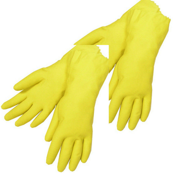 Yellow Latex Household Cleaning Dishwashing Gloves – 2 Pair (4 Gloves) - Medium