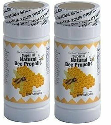 Natural Bee Propolis, 200 softgels Pack of 2. Exp 04/2022 with Vitamin C,
