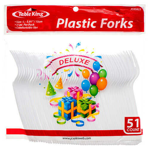 Table King Plastic Fork 51Ct (2-Pack) Cutlery Plastic Fork White Total102 Pieces