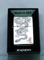 New Zippo Lighter Red Dragon High Polish Chrome MADE IN USA