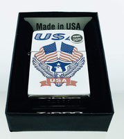 Genuine Zippo Windproof Lighter 250 Laser Lettering Pattern Eagle Flags USA Sealed Made in USA, US Free Ship Super Fast