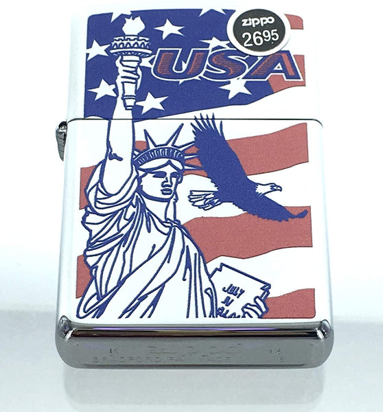 Genuine Zippo Windproof Lighter 250 Eagle Flag Laser Statue Liberty Made in USA, Sealed US Free Ship Super Fast