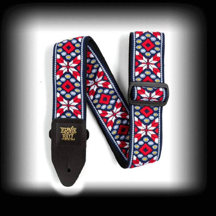 Ernie Ball Taos Fire Red Jacquard Guitar Strap P04639