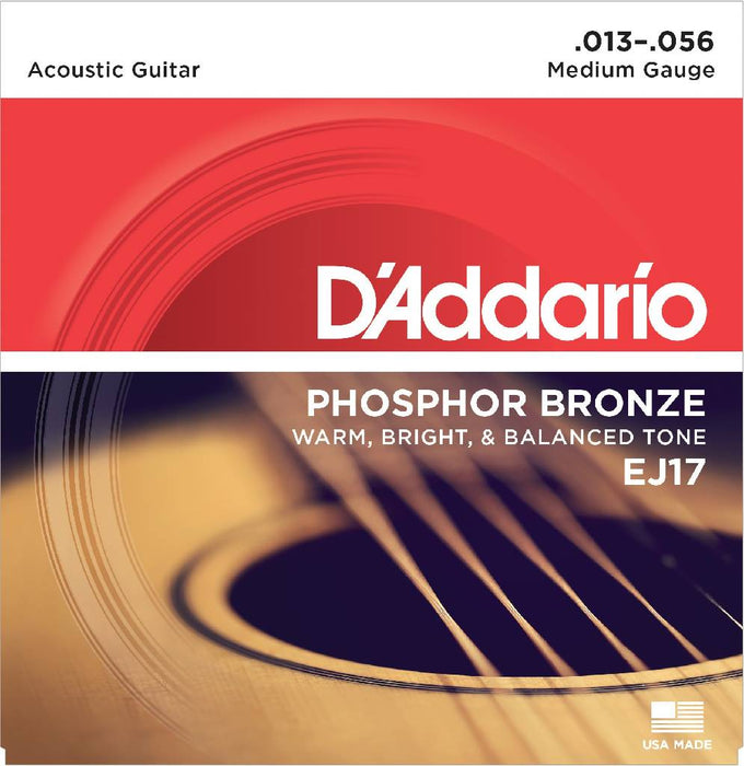 5 Packs - D'Addario EJ17 Phosphor Bronze Medium Acoustic Guitar Strings 13-56 Free US Shipping