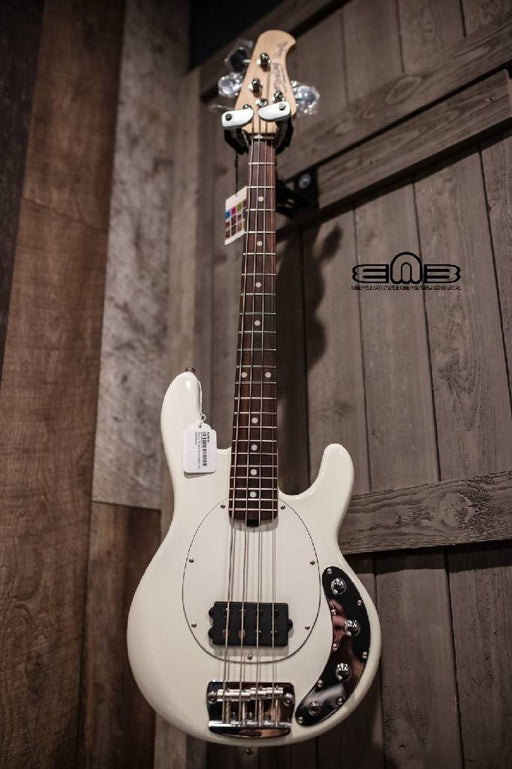 Sterling Stingray Short Scale Bass Guitar in Olympic White, contains Rosewood