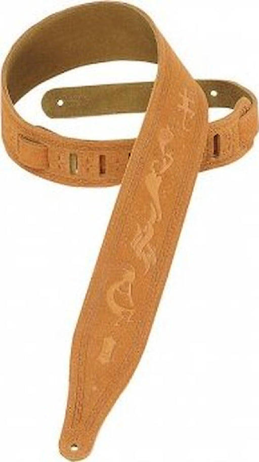 "Levy's 2 1/2"" wide honey suede guitar strap."