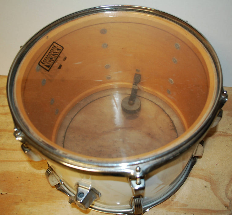 "Late 1970's Ludwig White Cortex Clear Maple 14"" Tom Drum Blue & Olive Badge"