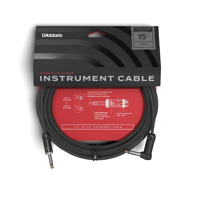 D'Addario PW-AMSGRA-15 15ft American Stage Right Angle Instrument Cable 15 foot Made in America