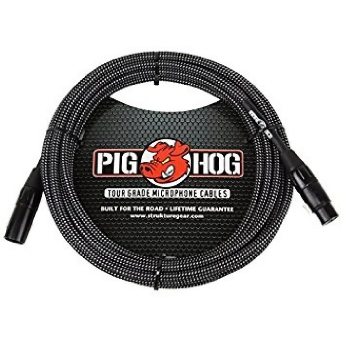 2-PACK! Pig Hog PHM20BKW Black and White Woven 20FT XLR Mic Cable