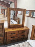 Dressing Table With Mirror Solid Pine Wood Rough Sawn & Rustic Finish (Woodlock)